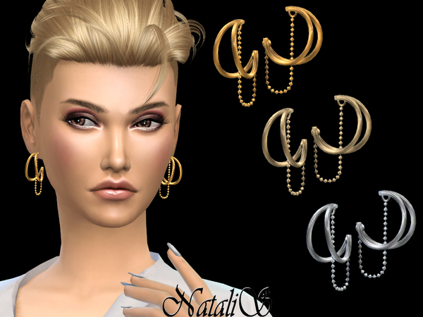 Double Hoop and Chain Earrings by NataliS at TSR image 1119 Sims 4 Updates