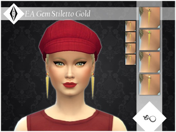 EA Gem Stiletto Gold Earrings by ALExIA483 at TSR image 1124 Sims 4 Updates