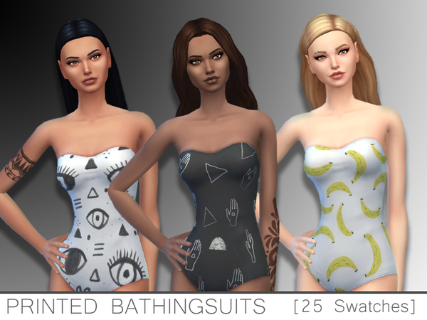 Printed Bathing suit by zombie potatoes at TSR image 1127 Sims 4 Updates