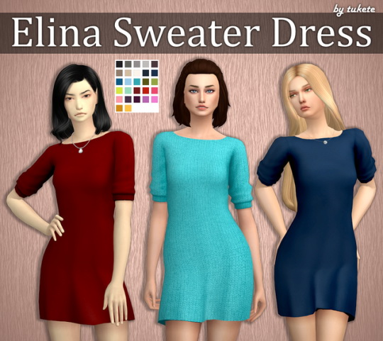 Sims 4 Elina Sweater Dress at Tukete