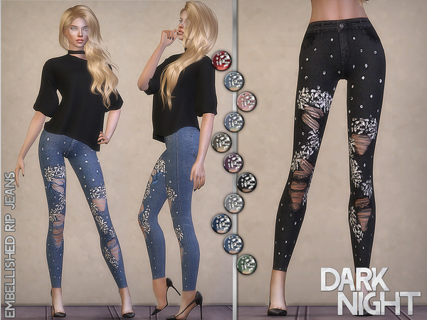Sims 4 Embellished Rip Jeans by DarkNighTt at TSR
