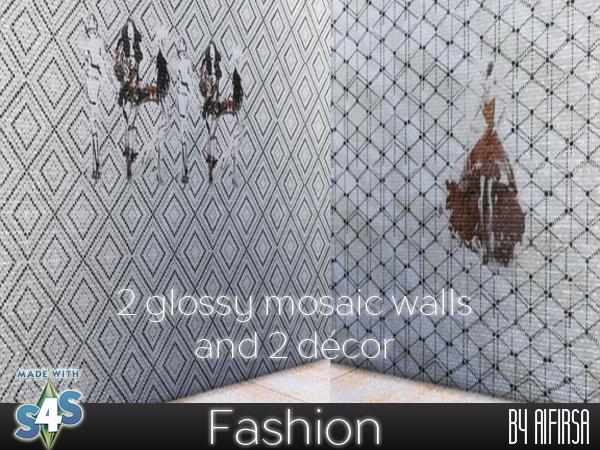 Sims 4 2 glossy mosaic walls at Aifirsa