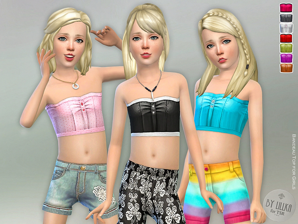 Sims 4 Bandeau Top for Girls by lillka at TSR