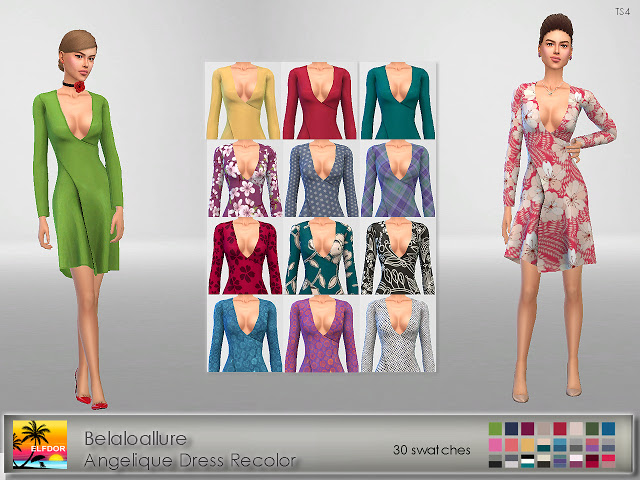 Sims 4 Belaloallure Angelique Dress Recolor at Elfdor Sims