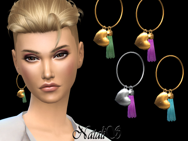 Hoop earring with heart pendant LEFT by NataliS at TSR image 1336 Sims 4 Updates