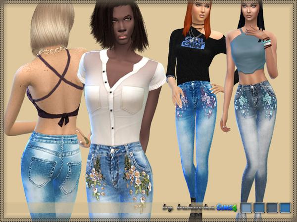 Sims 4 Denim Flowers by bukovka at TSR
