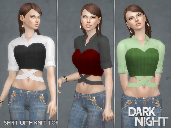 Shirt with Knit Top by DarkNighTt at TSR image 1523 Sims 4 Updates