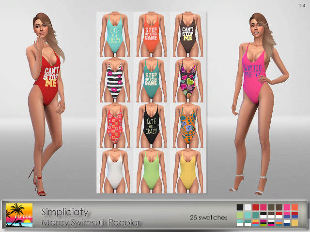 Sims 4 Simpliciaty Mercy Swimsuit Recolor at Elfdor Sims