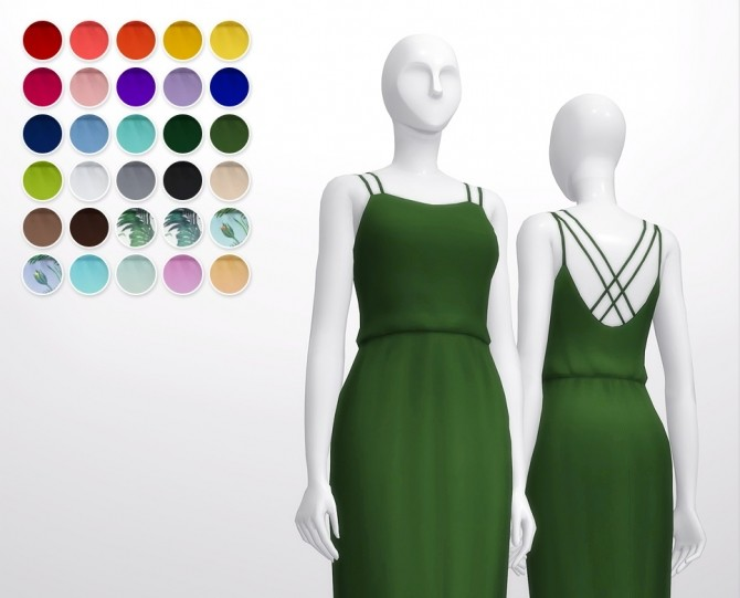 Basic maxi dress V2 30 colors at Rusty Nail image 1591 670x541 Sims 4 Updates