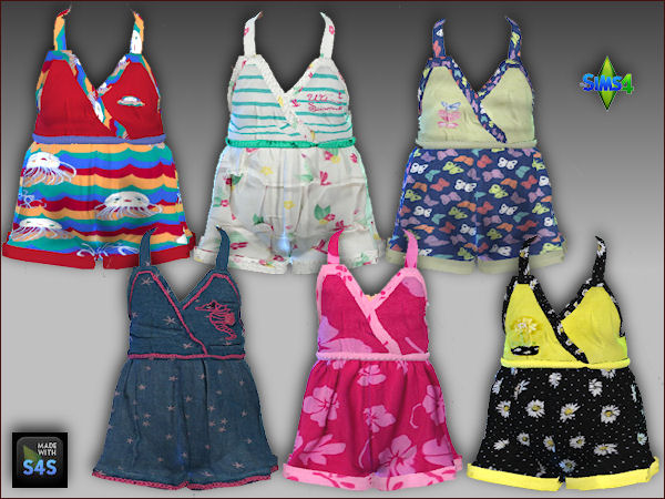 Sims 4 6 short jumpers and hats for toddler girls by Mabra at Arte Della Vita