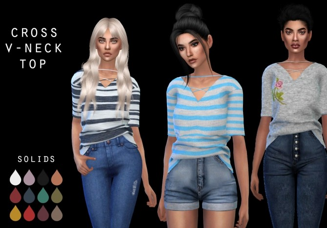 Sims 4 Cross V Neck Top at Leo Sims