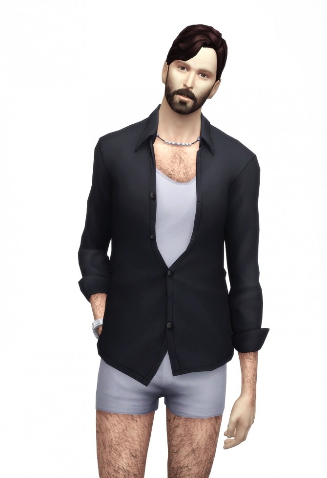 Hunky Open Shirt With T Shirt 25 Colors At Rusty Nail 187 Sims 4 Updates