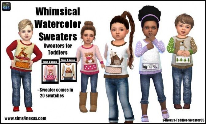 Sims 4 Whimsical Watercolor Sweaters by SamanthaGump at Sims 4 Nexus