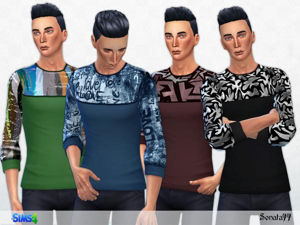 Sims 4 Grafic T shirt with long sleeves by Sonata77 at TSR
