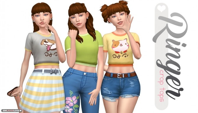 Sims 4 Ringer Crop Tops at SimLaughLove