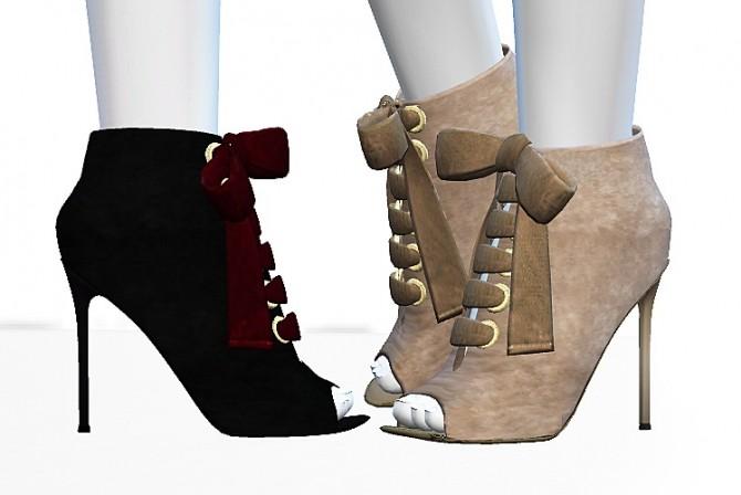 Sims 4 Jeannine Bow Booties by MrAntonieddu at MA$ims4