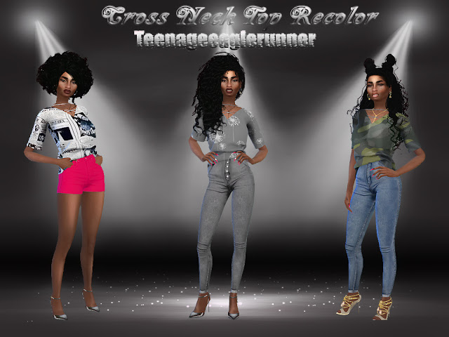 Cross Neck Top Recolor at Teenageeaglerunner image 1774 Sims 4 Updates