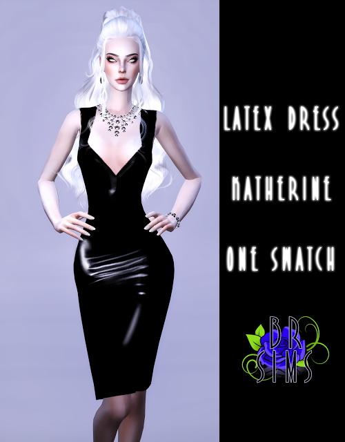 Sims 4 Katherine Latex Dress at BlueRose Sims