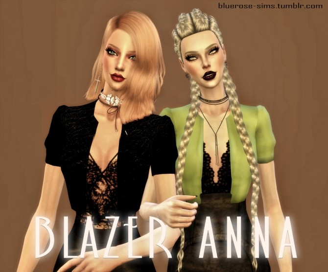 Sims 4 Anna blazer at BlueRose Sims