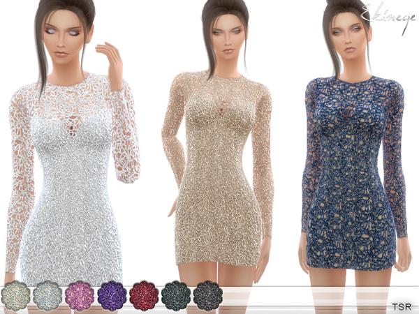 Crochet Lace Mini Dress by ekinege at TSR image 1920 Sims 4 Updates