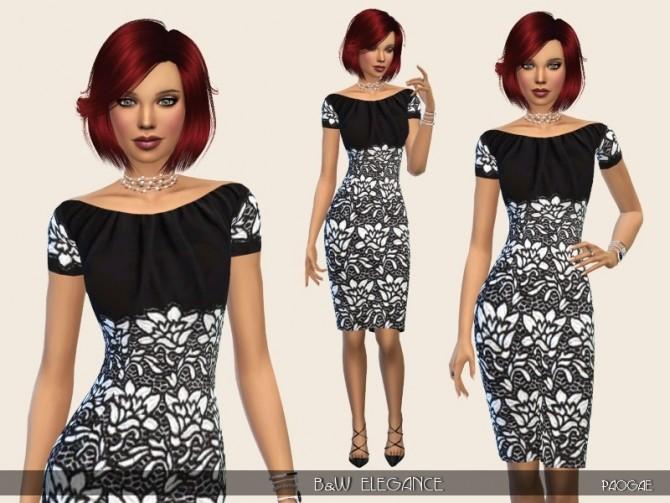 Sims 4 B&W Elegance dress by Paogae at TSR