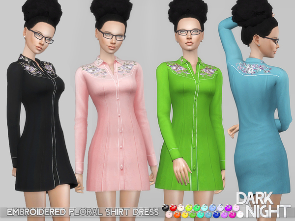 Sims 4 Embroidered Floral Shirt Dress by DarkNighTt at TSR
