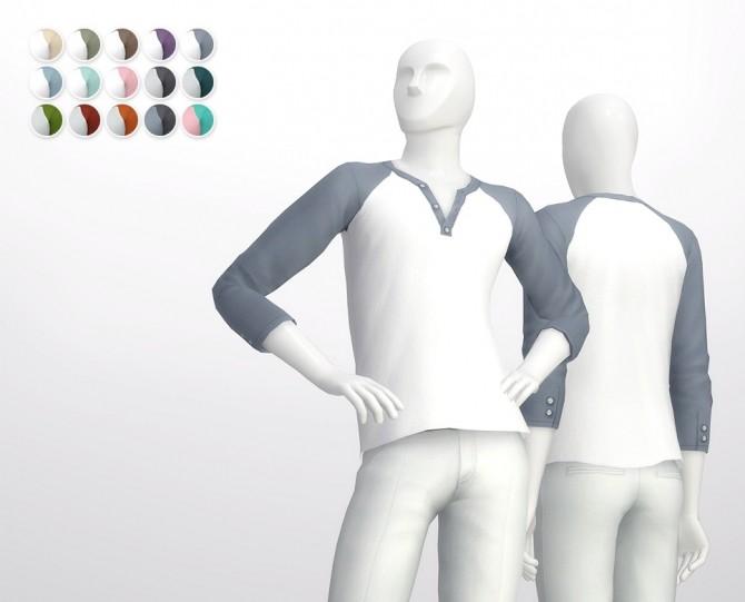 Sims 4 Half sleeve Henley neck Raglan t shirt at Rusty Nail