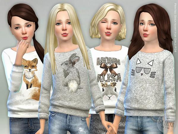 Printed Sweatshirt for Girls P24 by lillka at TSR image 2420 Sims 4 Updates