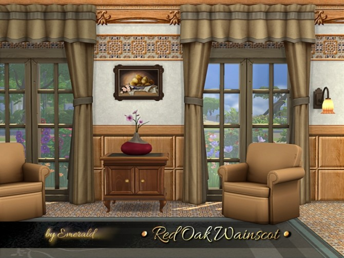 Sims 4 Red Oak Wainscot by emerald at TSR
