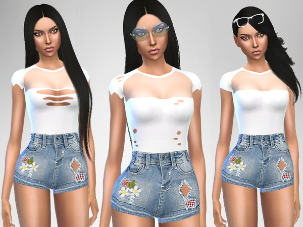 Sims 4 White and Denim Outfit by Puresim at TSR