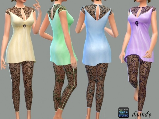 Sims 4 Silk and Lace Pajamas by dgandy at TSR