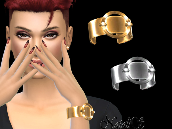 Sims 4 Ring Accented Cuff Bracelet by NataliS at TSR