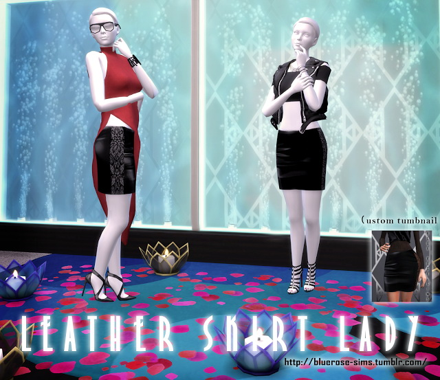 Sims 4 Leather Skirt Lady at BlueRose Sims