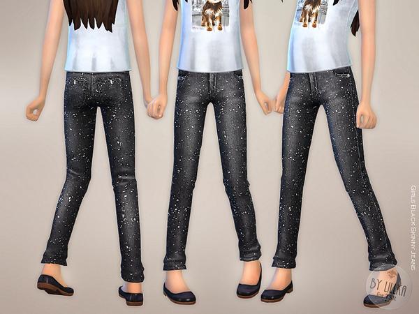 Sims 4 Girls Black Skinny Jeans by lillka at TSR