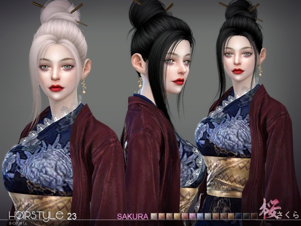 Sims 4 Sakura n23 hair by S Club at TSR