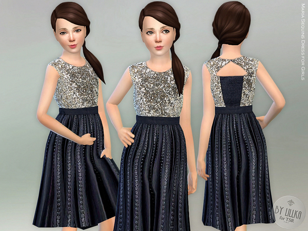 Sims 4 Maria Sequins Dress for Girls by lillka at TSR