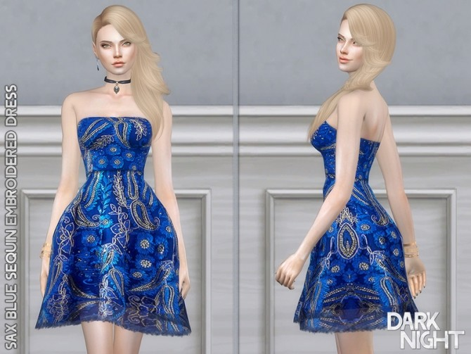 Sims 4 Sax Blue Sequin Embroidered Dress by DarkNighTt at TSR