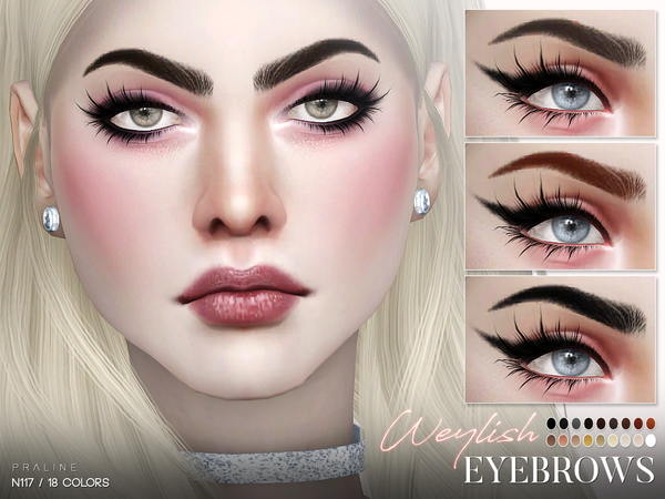Weylish Eyebrows N117 by Pralinesims at TSR image 41 Sims 4 Updates