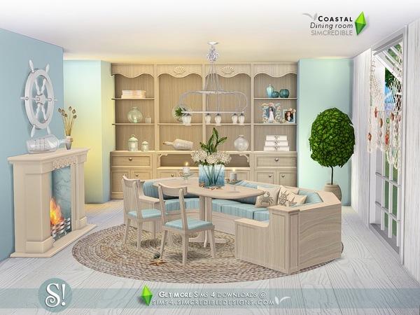 Sims 4 Coastal Dining room by SIMcredible at TSR