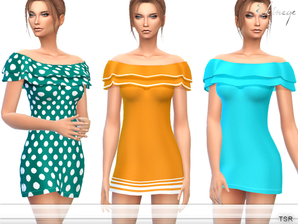 Sims 4 Off The Shoulder Frill Dress by ekinege at TSR