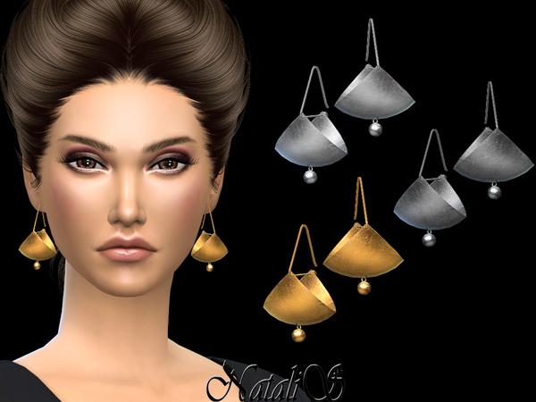 Sims 4 Fan drop earrings by NataliS at TSR