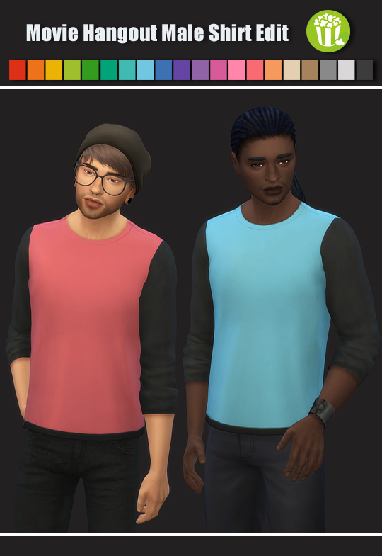 Sims 4 Movie Hangout Male Shirt Edit at Maimouth Sims4