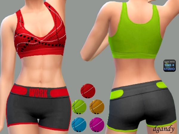 Sims 4 WORK Athletic Short Set by dgandy at TSR