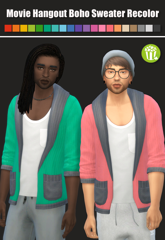 Sims 4 Movie Hangout Boho Sweater Recolor at Maimouth Sims4
