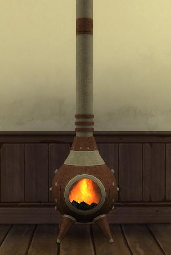 Sims 4 Heavy Brass Fireplace by BigUglyHag at SimsWorkshop
