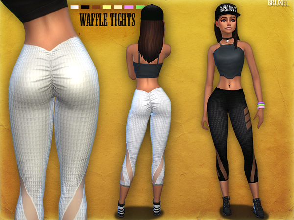 Sims 4 Waffle Tights by Bruxel at TSR
