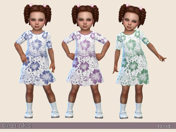 Sims 4 Sweet Girls romantic dress by Paogae at TSR