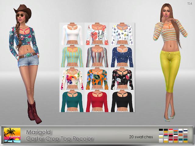 Sims 4 Marigold Garter Crop Top Recolor at Elfdor Sims