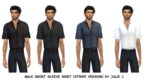Male Short Sleeve Shirt Stripe Version at Julietoon – Julie J image 685 Sims 4 Updates