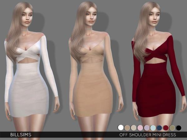 Sims 4 Off Shoulder Mini Dress by Bill Sims at TSR